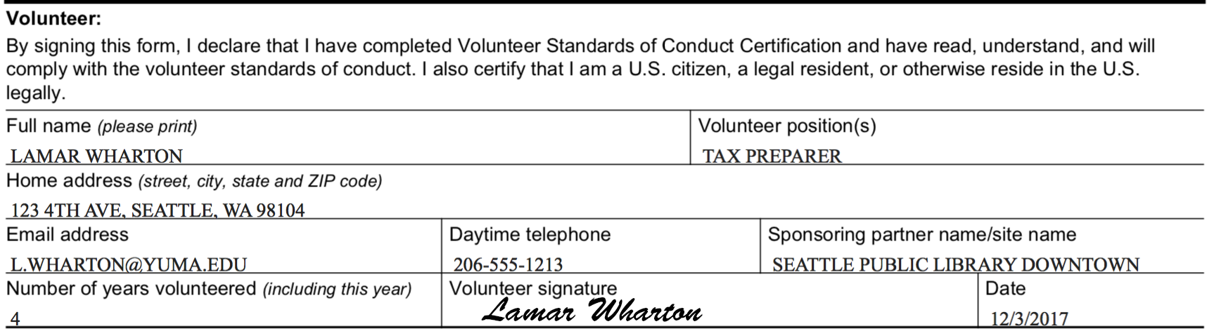 Example of a complete volunteer section of the Volunteer Agreement